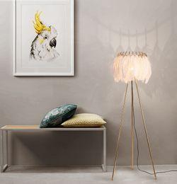 Wholesale feather bar resale online - Feather Floor Lamp Restaurant Bar Villa Hotel Bedroom Living Room Creative Bedside Nordic Standing Lighting FA055