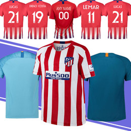 Fine men online shopping - 19 New Thailand Atletico madrid Jersey Griezamnn Jersey LEMAR LUCAS Gameiro Embroidery Logo Cheap and Fine