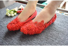 $enCountryForm.capitalKeyWord UK - Flat heel red lace womens party flats shoes handmade lace flower pearls girls ladies party dancing shoe on sale in stock