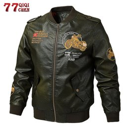 $enCountryForm.capitalKeyWord Australia - Tactical Leather Jacket Men Motorcycle Pilot PU Jacket Autumn Spring Vintage Embroidery Coat resident evil deri cek 5XL