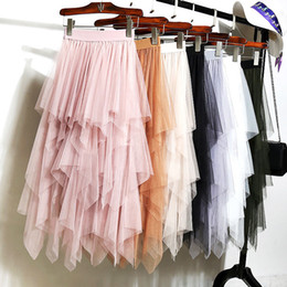 plus size pink tutu Australia - 2019 Women Pink Skirt fashion Casual women's Irregular Tulle High Waist Pleated Tutu Ladies Midi Skirt fairy Plus Size Skirts