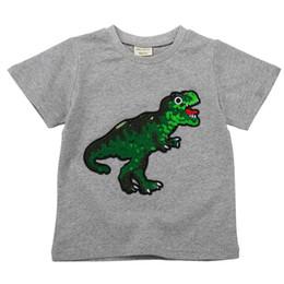 Kids Black White Tee Australia - T-shirts For Boys T shirt Dinosaur Kids Clothes Girls White T Shirts For Children Kids Short Sleeve Top Tee Black Red