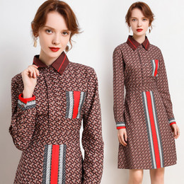 Wholesale long shirts dresses for sale – plus size Boutique Girl Dress Long Sleeve Womens Shirt Dress Spring New High end Printed Dress Fashion OL Lady Dresses