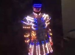 led stage costumes Canada - Ballroom dance led costumes colorful light dj jacket led party luminous suit glowing clothe dress stage