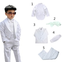 black denim waistcoat UK - 2018 Kids Children Formal Boys Wedding Tuxedo Suits 5pcs Black White boy Blazer Suit Marriages Perform Dress Costume Baby suits