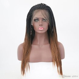 braided lace front wigs Australia - Braid Lace Front Wig Ombre Brown Synthetic Heat Reistant Braided Glueless Braiding Hair Glueless Lacefront Box Braids Wigs With Baby Hairs