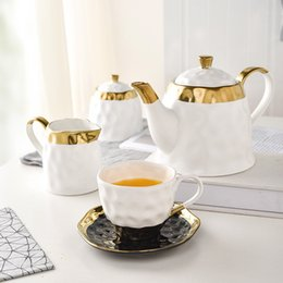 Lead pots online shopping - European Style Brief Gold Plated Ceramic Procelain Fragrant Coffee Mug with Saucer Lead free Tea Pot Sugar Cans Milk Kettle Gift