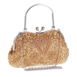 3dee7f96d Bamboo Charm Folk-custom Vintage Evening Handbag For Women Beading Flower  Clutch Casual Lady Bag Crossbody Shoulder Metal Chain #222589