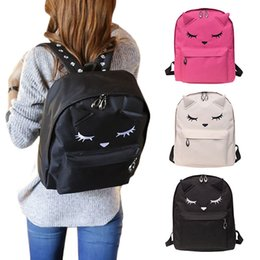 Cute baCkpaCks for College women online shopping - 2019 Cute Cartoon Embroidery Cat Printing Canvas Backpack College Style Casual Bag For Teenage Girls Agd Fab Women Bag