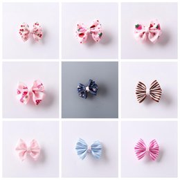 Girl hair accessories cherry online shopping - 9 styles Bow Striped Strawberry Cherry Cute Fashion Little Girl Hairpin Children Hair Clip Kids Accessories