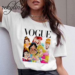 Wholesale 4xl graphic tees online – design Women Summer Graphic Tee Shirt Femme Funny Princess Vogue Harajuku T Shirt Korean Tops Kawaii Streetwear Camiseta Mujer