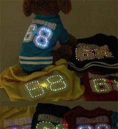 led t shirt wholesalers Canada - Pet Dog Clothes LED Light Cat Vest Clothes Small Puppy Soft Coat Jacket Summer Apparel Cartoon Fashion 17sb UU