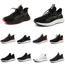 black men running shoes discounted NZ - Discount running shoes men Triple Black White Red chaussures hommes Breathable mens trainers Athletic Sport Sneakers zapatos 39-44 Style 4