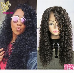 human hair brazilian loose curly Australia - Loose Kinky Curly Human Hair Lace Front Wigs Brazilian Glueless Full Lace Human Hair Wigs With Bleached Knots Baby Hair