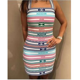 $enCountryForm.capitalKeyWord Australia - Women Designer 2 Piece Dress Summer Condole Belt Sleeveless Shirt + Skirts Sets Color Strip Lines Jacquard Weave Camisole Half Skirt Lady