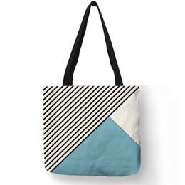 e89dc9e5b0 Women Large Capacity Linen Casual Tote Bags Simple Geometry Stripe Pattern Print  Handbag Teenager Shopping School Shoulder Bag