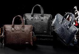 Man S Leather Bags Australia - 2018 new cross-section computer bag leather business portable case manufacturers wholesale crocodile pattern men\\'s bag batch send a wal