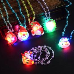 Necklaces Pendants Australia - glow up flashing led necklace for christmas Kids Colorful Beads Chain LED Light Cartoon Santa Claus Pendant Necklace Party Favors