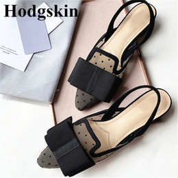 Big Toes Slippers Australia - 2019 New Casual Black Dot Mesh Women Shoes Big Bow Pointy Toe Summer Ballet Women's Slippers Street Fashion Female Sandals