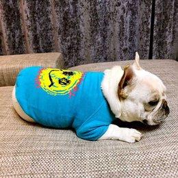 $enCountryForm.capitalKeyWord Australia - Wholesale Fashion Pets Apparel Blue Smile Print Sweatshirts Spring And Autumn Dog Outwear Soft Cotton Comfortable Dog Autumn
