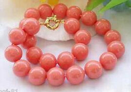indian coral beads Australia - Genuine 10mm South Sea Coral Color Shell Pearl Round Beads Necklace 18'' >Wholesale Lovely Women's Wedding Jewelry