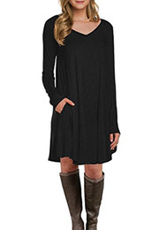 $enCountryForm.capitalKeyWord UK - POGTMM Women's Long Sleeve Flowy Swing Tunic T-Shirt Dress
