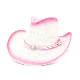 ea31a203965f8a Pink Paint Spraying Paper Straw Cowboy Hats Summer Men Women Wide Brim Sun  Protection Hat Panama Beach Cap with Windproof Rope