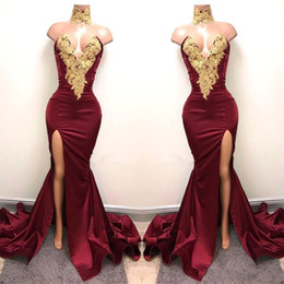 Sexy front deSignS dreSSeS online shopping - New Design Burgundy Prom Dresses Gold Lace Appliqued Mermaid Sexy Front Split Party Dress Evening Wear Gowns