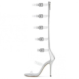 94f99db51 Hot Selling PVC Clear Strap Gladiator Heels Sandals Boot Open Toe Buckle  Straps Silver Heels Shoes Cut-out Hollow Strappy Sandal