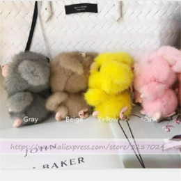 real fur keychain NZ - Magicfur - Real Mink fur Cute Pig Mouse Keychain Bag Charm Kids Doll Key Ring Pendant Keychain Accessories