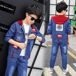 50256956937 2pcs Denim Boys Outerwear & Boys Jeans Clothing Set Boy Hooded Jacket Pants  for 8 10 12 14 Years 2019 Kids Clothes Boys