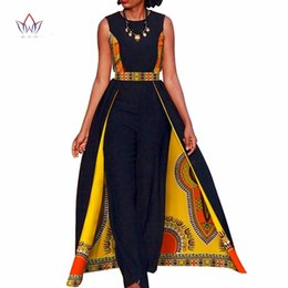 $enCountryForm.capitalKeyWord Australia - African Design Bazin Summer Elegant Womens Rompers Jumpsuit Sleeveless Rompers Jumpsuit Long Dashiki Pants Plus Size BRW WY729 T5190614