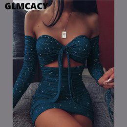 Wholesale cut out casual short dresses for sale – plus size Women Long Sleeve Off Shoulder Cut Out Dress Sexy Glitter Off Shoulder Ruched Bodycon Dress Short Night Club Party