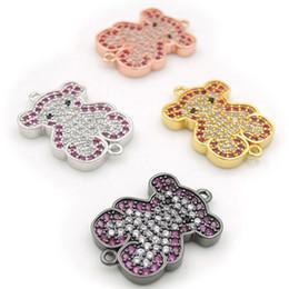 $enCountryForm.capitalKeyWord Australia - 20*14*2mm Micro Pave Fuchsine&Clear&Black CZ Bear Connectors Fit For Men And Women Making Bracelets Jewelry