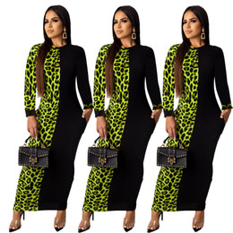 long sleeve maxi dresses Australia - Autumn Womens Sexy Hip Long Sleeve Bodycon Dress Stitching Party Long Dress Leopard Fishtail Summe Maxi Dress Plus Size