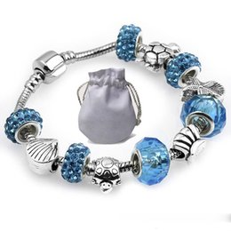 $enCountryForm.capitalKeyWord NZ - 2019 New Silver Snake Chain Bracelets Brand Fit Pandora Women Bangle Blue Faceted Glass Beads Tortoise Starfish Jewelry Accessories