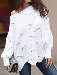 Wholesale cut out pullover sweater resale online - 2020 spring and autumn foreign trade popular women s Pullover bat sleeve loose cut out knitwear cut out large European and American sweater