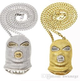$enCountryForm.capitalKeyWord UK - Rhinestone Iced Out Counter-Terrorism Mask Pendant Necklace World Peace Jewelry