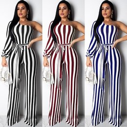 $enCountryForm.capitalKeyWord Australia - Echoine Striped One Shoulder Playsuit Jumpsuit Long Wide Leg Pants Rompers Long Sleeve With Belt 2019 New Hot Casual Jumpsuit MX190726