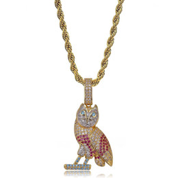 owl pendant necklace men UK - Hip Hop Gold Owl Pendant Necklace Micro Pave Zircon Iced Out Animal Jewelry Man Women Gift