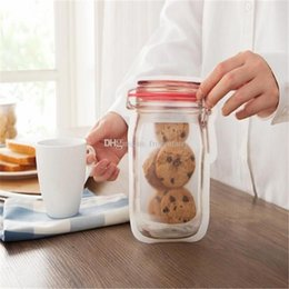$enCountryForm.capitalKeyWord Australia - Safe Zippers Storage Bags Plastic Mason Jar Shaped Food Container Resuable Eco Friendly Snacks Bag Hot Sale 2 2pj BB 2018120404