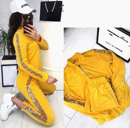 yellow ladies jacket Australia - Yellow one Casual Tracksuit Women Two Piece Set Sequins Autumn Outfits Printed Sweatshirt Jacket and Pants Set Ladies Fashion Sweat Suits