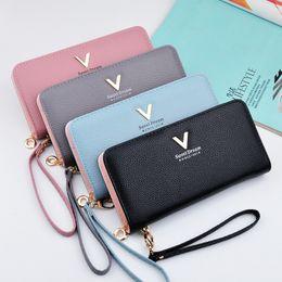 $enCountryForm.capitalKeyWord NZ - Brand women long zipper wallet High quality PU leather coin purse Litchi Female ID card package fashion evening clutch bag black