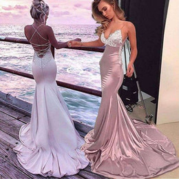 Boho jacket online shopping - Sexy Open Back Mermaid Evening Dresses With White Lace Spaghetti Strap Appliques Sweep Train Simple Boho Prom Party Gowns