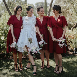short gown bridesmaid sleeve Canada - Burgundy Chiffon Long Bridesmaid Dresses Plus Size maid of honor gowns jumpsuits short sleeve Bridal Wedding Party Gowns cheap Custom Made
