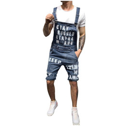 Wholesale overalls denim for man resale online – designer Letter Suspender Pants For Men New Mens Ripped Short Jumpsuits Distressed Denim Overalls Knee Length Suspender Cowboy Pants
