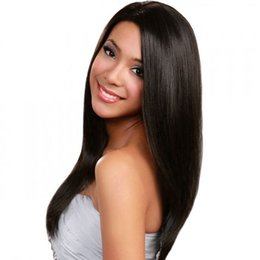 Human Hair Ladies Wigs Australia - In stock beautiful unprocessed remy virgin human hair long natural color silky straight full lace top cap wig for lady