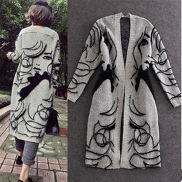 $enCountryForm.capitalKeyWord Australia - European Big 2019 Spring Autumn Abstract Pattern Loose Bat Sleeve Women Long Cardigan Sweater Thick Sweater Coat Female Sw147