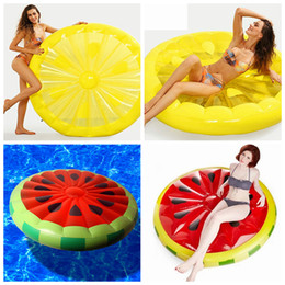 wholesale float ring 2019 - Inflatable Lemon watermelon Water Toy Giant Floating Bed Raft Air Mattress Summer Holiday Swmming Ring 150cm LJJZ439 che