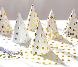 Discount happy birthday caps - Polka Dot Party Hat DIY Cute Handmade Cap Happy Birthday Party Hat Baby Shower Decoration Boy Girl Gifts